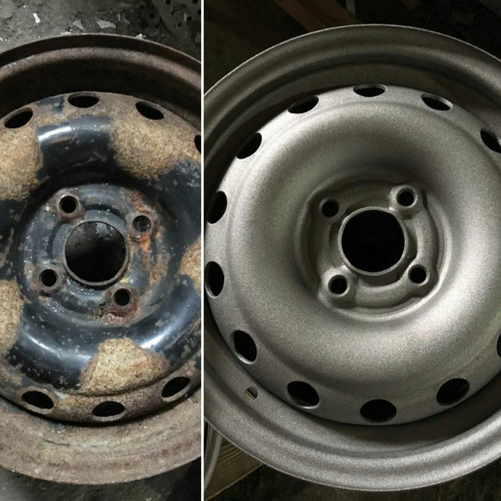 Дробеструйная очистка автомобильных дисков